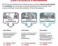 "Registrations for Module 1 ""Leadership"" and Module 2 ""Entrepreneurship"" are open. Hurry Up and take your place in Business Development Certificate Program."